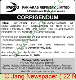 Pak Arab Refinery Limited Karachi Tender Notice