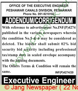 Peshawar Canals Division Peshawar Tender Notice
