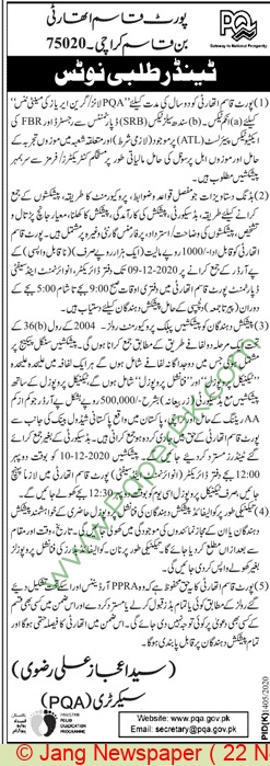 Port Qasim Authority Karachi Tender Notice