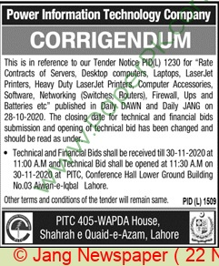 Power Information Technology Company Lahore Tender Notice
