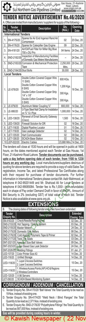 Sui Northern Gas Pipelines Limited Lahore Tender Notice