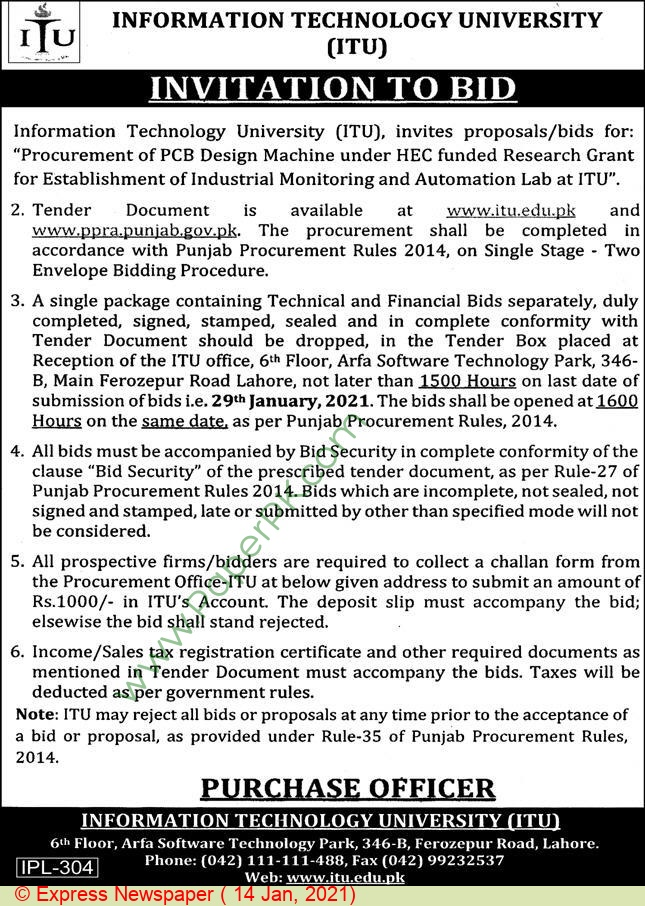 Information Technology University Lahore Tender Notice.