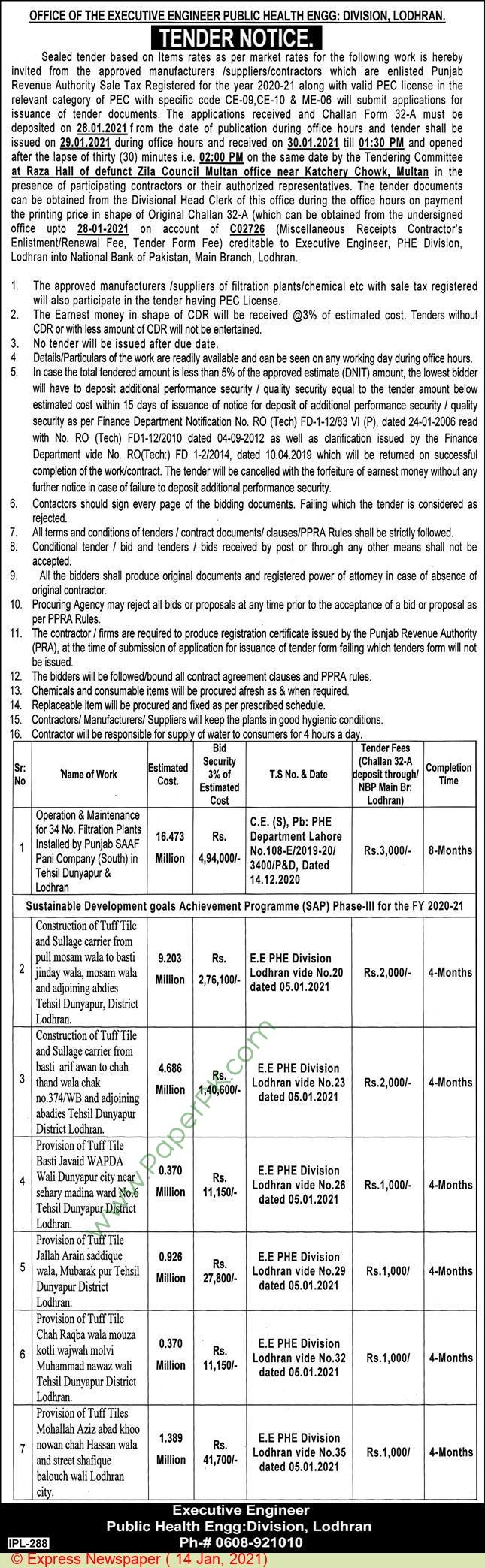 Public Health Engineering Division Lodhran Tender Notice