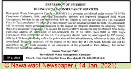 Rawalpindi Waste Management Company Rawalpindi Tender Notice