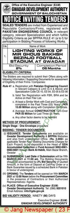 Gwadar Development Authority Gwadar Tender Notice