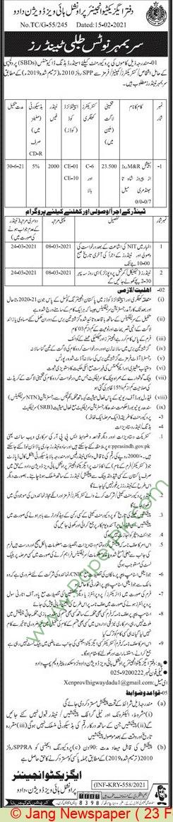 Provincial Highways Division Dadu Tender Notice