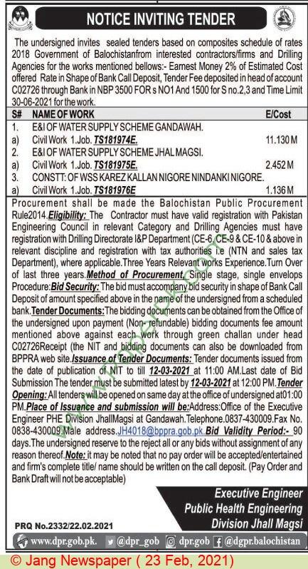 Public Health Engineering Division Jhall Magsi Tender Notice