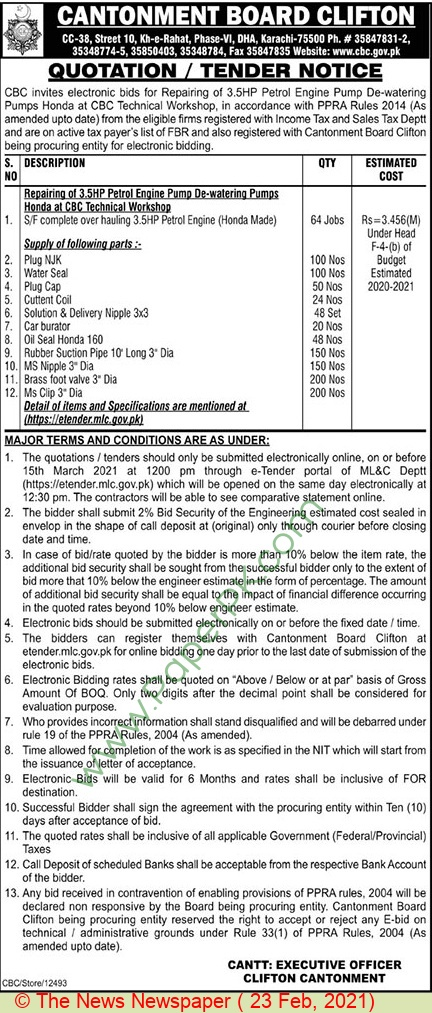 Cantonment Board Clifton Karachi Tender Notice  2