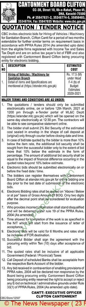Cantonment Board Clifton Karachi Tender Notice  3