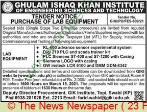 Ghulam Ishaq Khan Institute Of Engineering Sciences & Technology Swabi Tender Notice 3