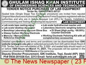 Ghulam Ishaq Khan Institute Of Engineering Sciences & Technology Swabi Tender Notice