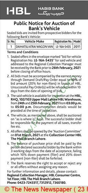 Habib Bank Limited Lahore Auction Notice