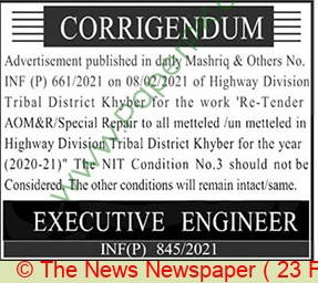 Highway Division Khyber Tender Notice
