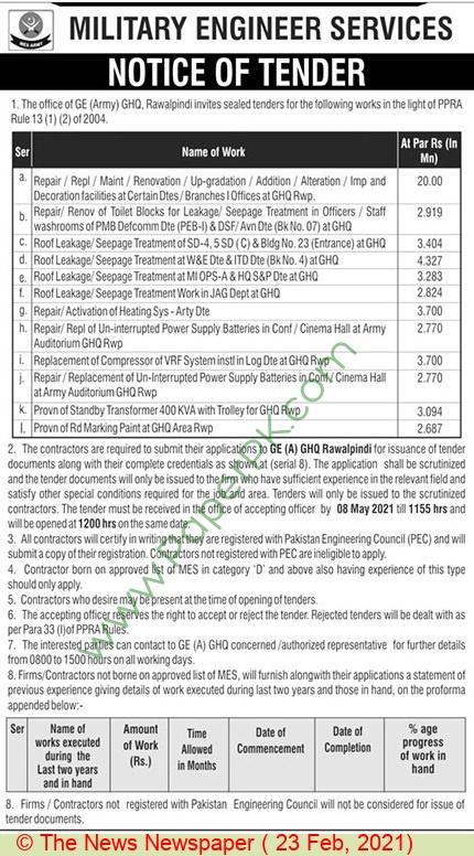 Military Engineer Services Rawalpindi Tender Notice
