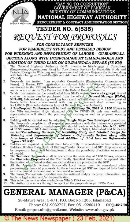 National Highways Authority Islamabad Tender Notice