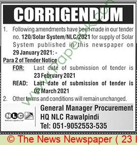 National Logistics Cell Rawalpindi Tender Notice