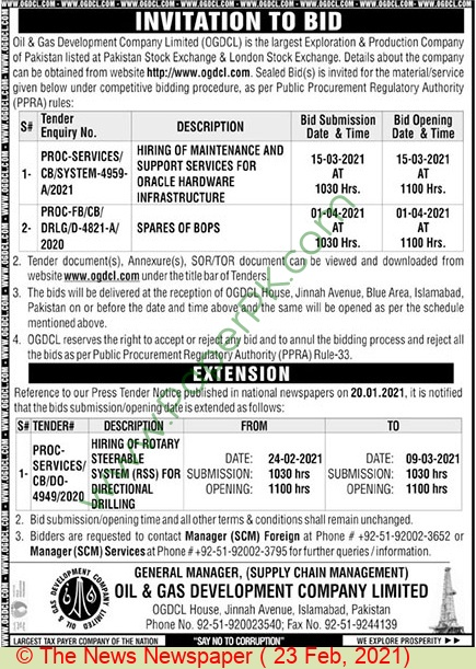 Oil & Gas Development Company Limited Islamabad Tender Notice