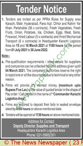 Pakistan Army Karachi Tender Notice