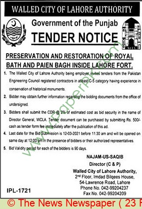Walled City Of Lahore Authority Lahore Tender Notice