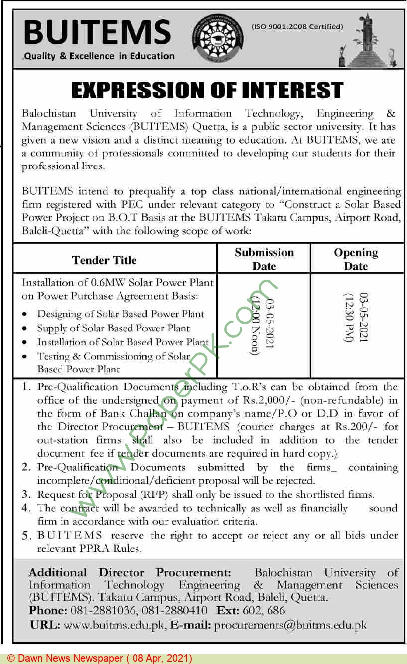 Balochistan University Of Information Technology Engineering & Management Sciences Quetta Tender Notice