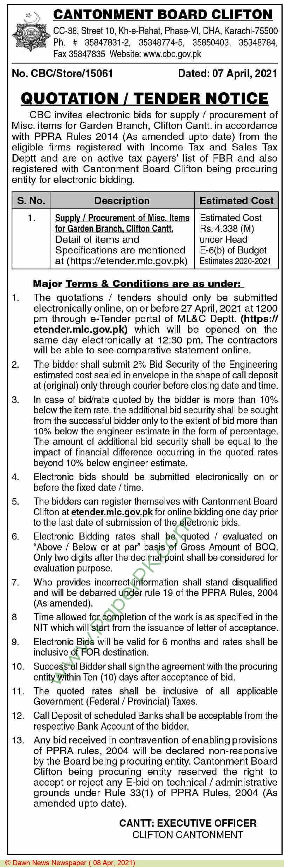 Cantonment Board Karachi Tender Notice