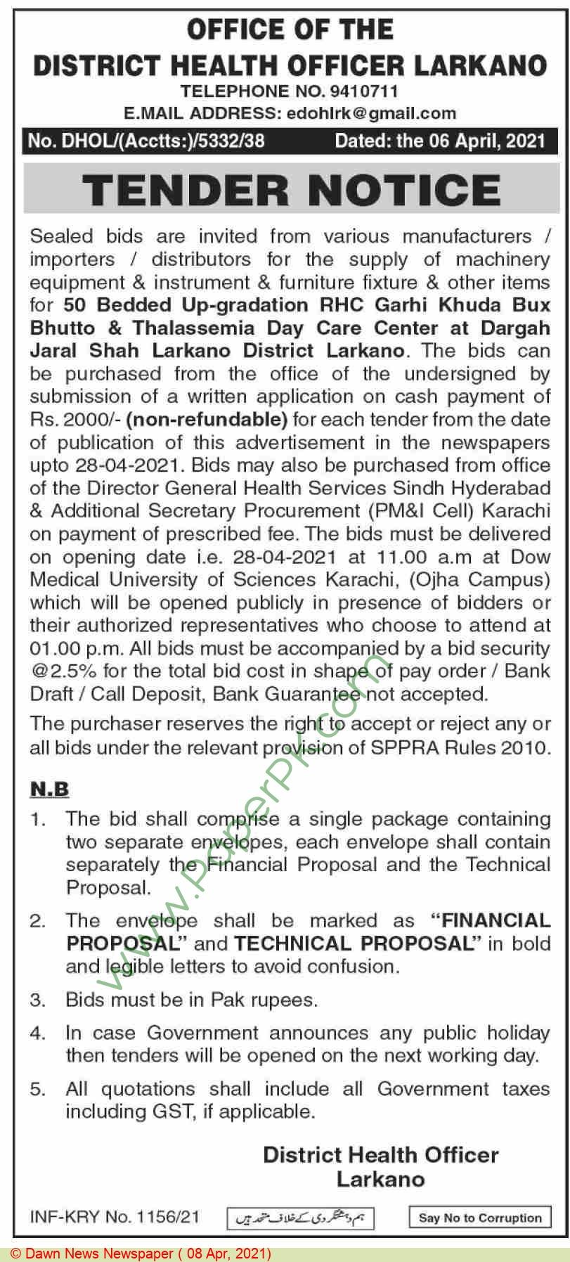 District Health Authority Larkana Tender Notice