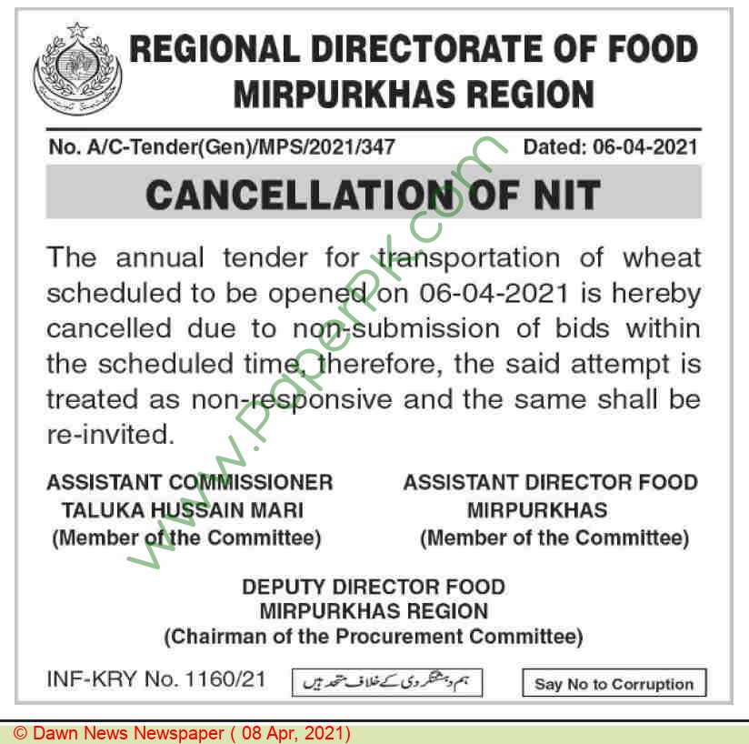 Food Department Mirpurkhas Tender Notice (cancellation)
