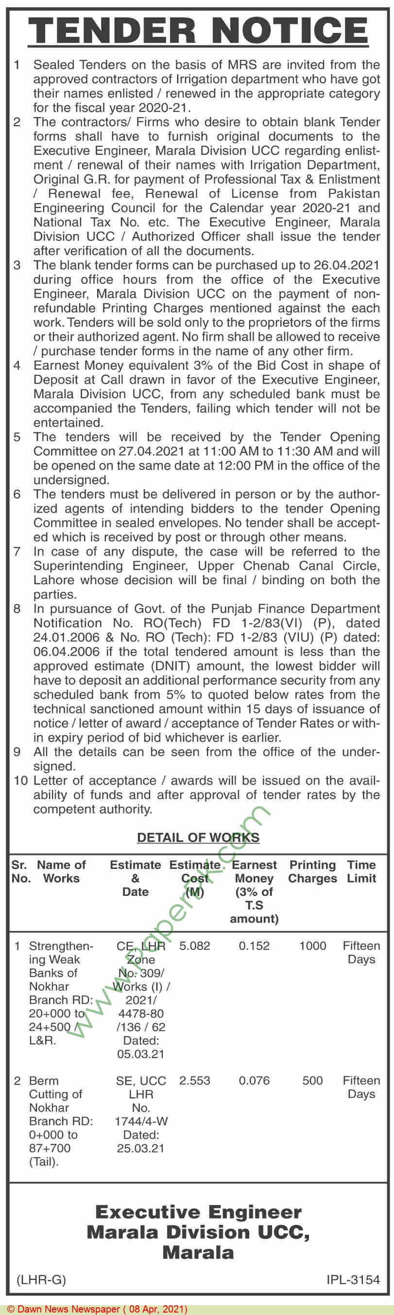 Irrigation Department Marala Tender Notice