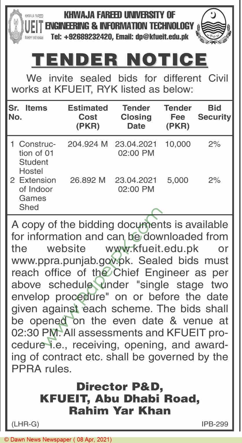 Khwaja Fareed University Of Engineering & Information Technology Rahim Yar Khan Tender Notice