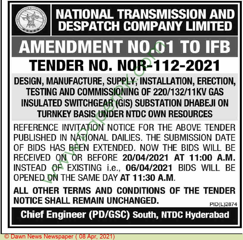 National Transmission & Despatch Company Limited Hyderabad Tender Notice