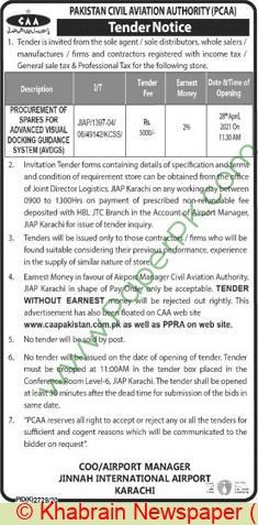 Pakistan Civil Aviation Authority Karachi Tender Notice