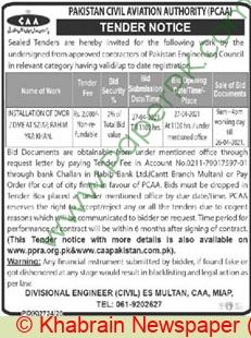Pakistan Civil Aviation Authority Multan Tender Notice