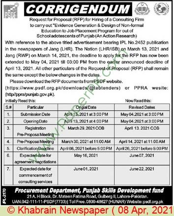 Punjab Skills Development Fund Lahore Tender Notice