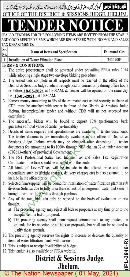 District & Session Court Jhelum Tender Notice