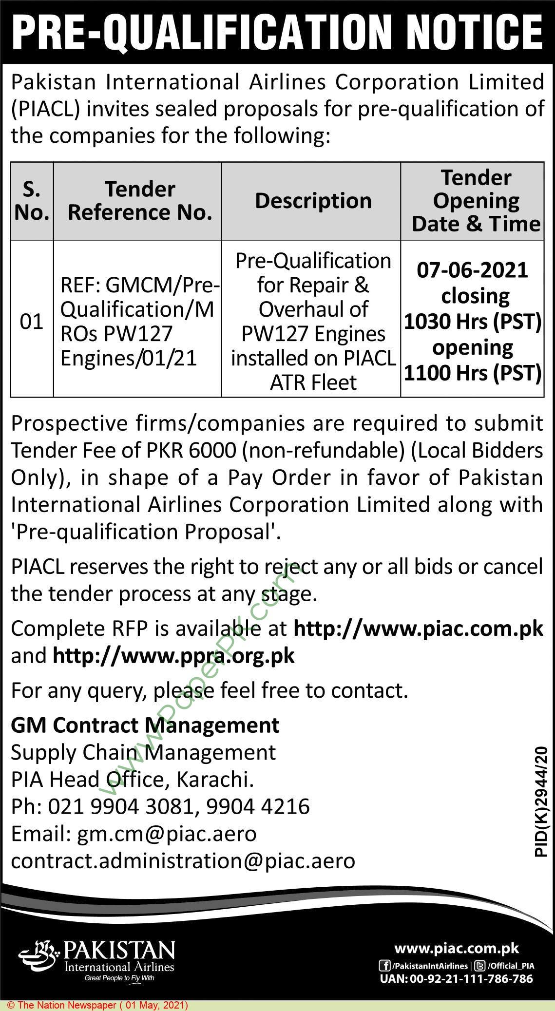 Pakistan International Airlines Karachi Tender Notice