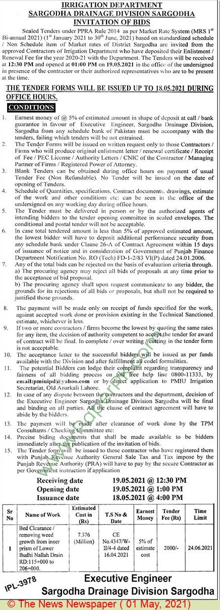 Irrigation Department Sargodha Tender Notice