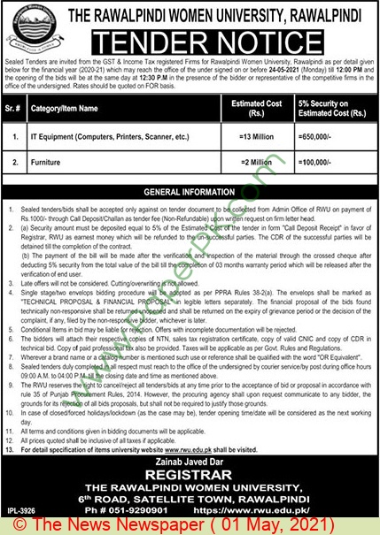 The Rawalpindi Women University Rawalpindi Tender Notice