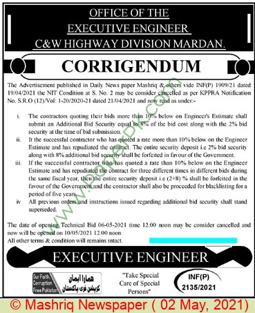 Communication & Works Highway Department Mardan Tender Notice