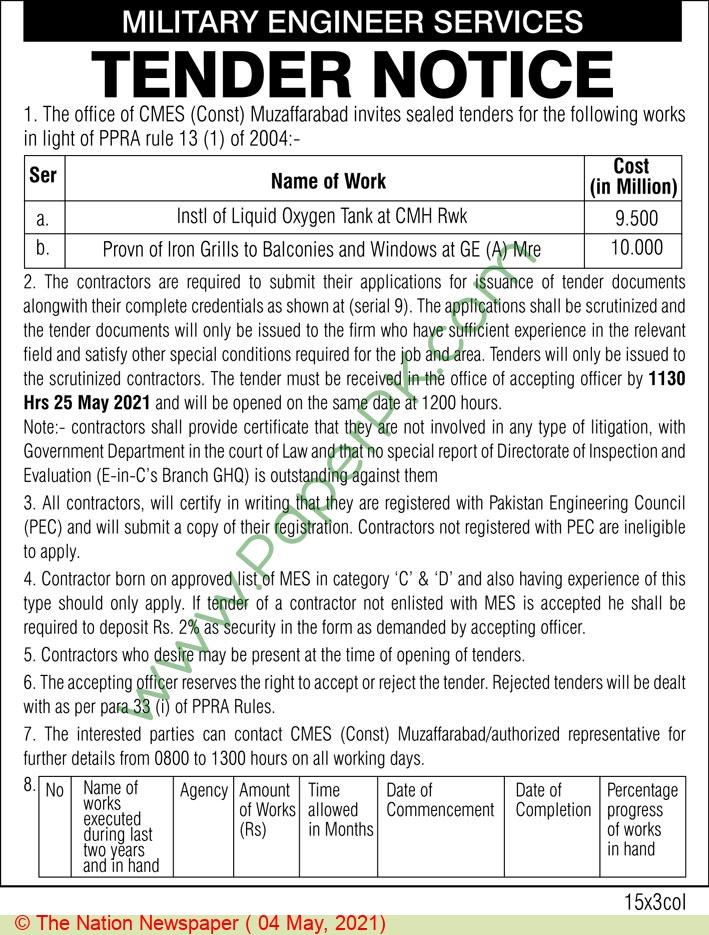 Military Engineer Services Muzaffarabad Tender Notice