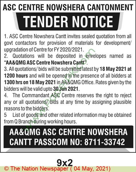 Pakistan Army Nowshera Tender Notice