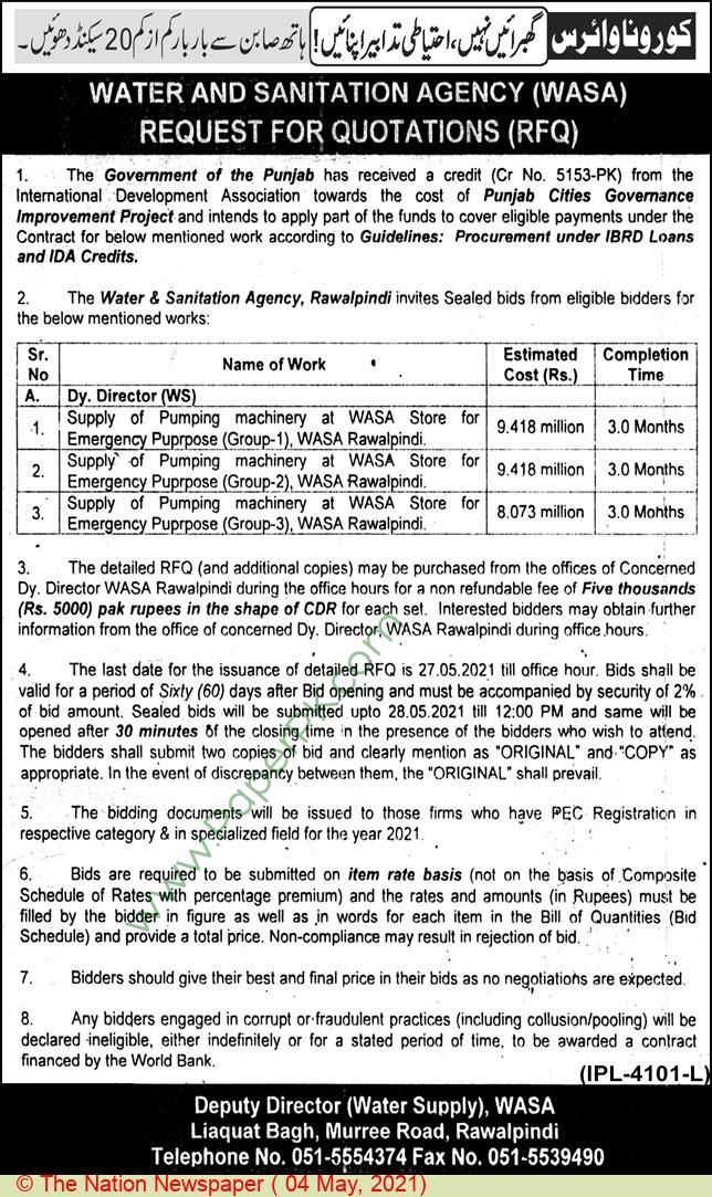Water & Sanitation Agency Rawalpindi Tender Notice