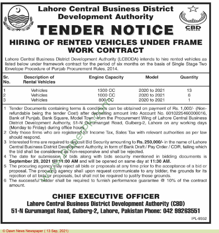 Lahore Central Business District Development Authority Lahore Tender Notice