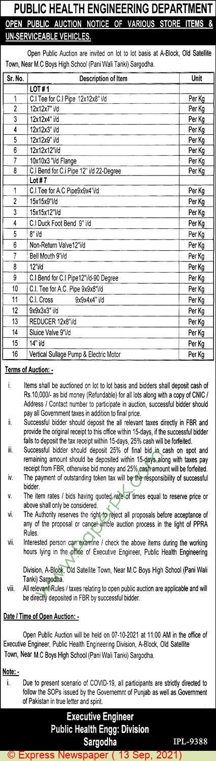 Public Health Engineering Division Sargodha Tender Notice