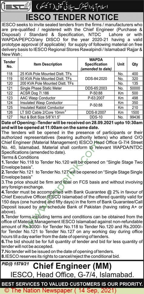 Islamabad Electric Supply Company Islamabad Tender Notice