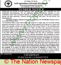 Pir Mehr Ali Shah Arid Agriculture University Rawalpindi Tender Notice