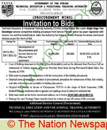 Technical Education & Vocational Training Authority Lahore Tender Notice