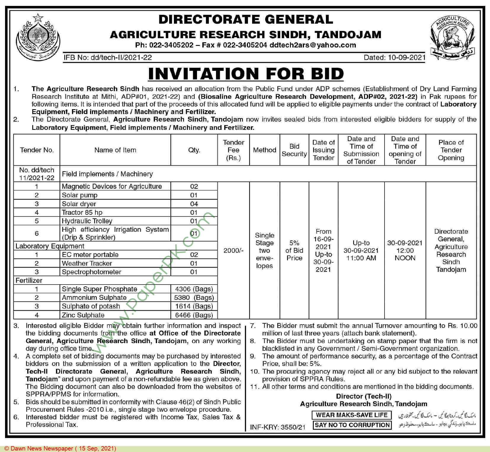Agriculture Research Sindh Tandojam Tender Notice