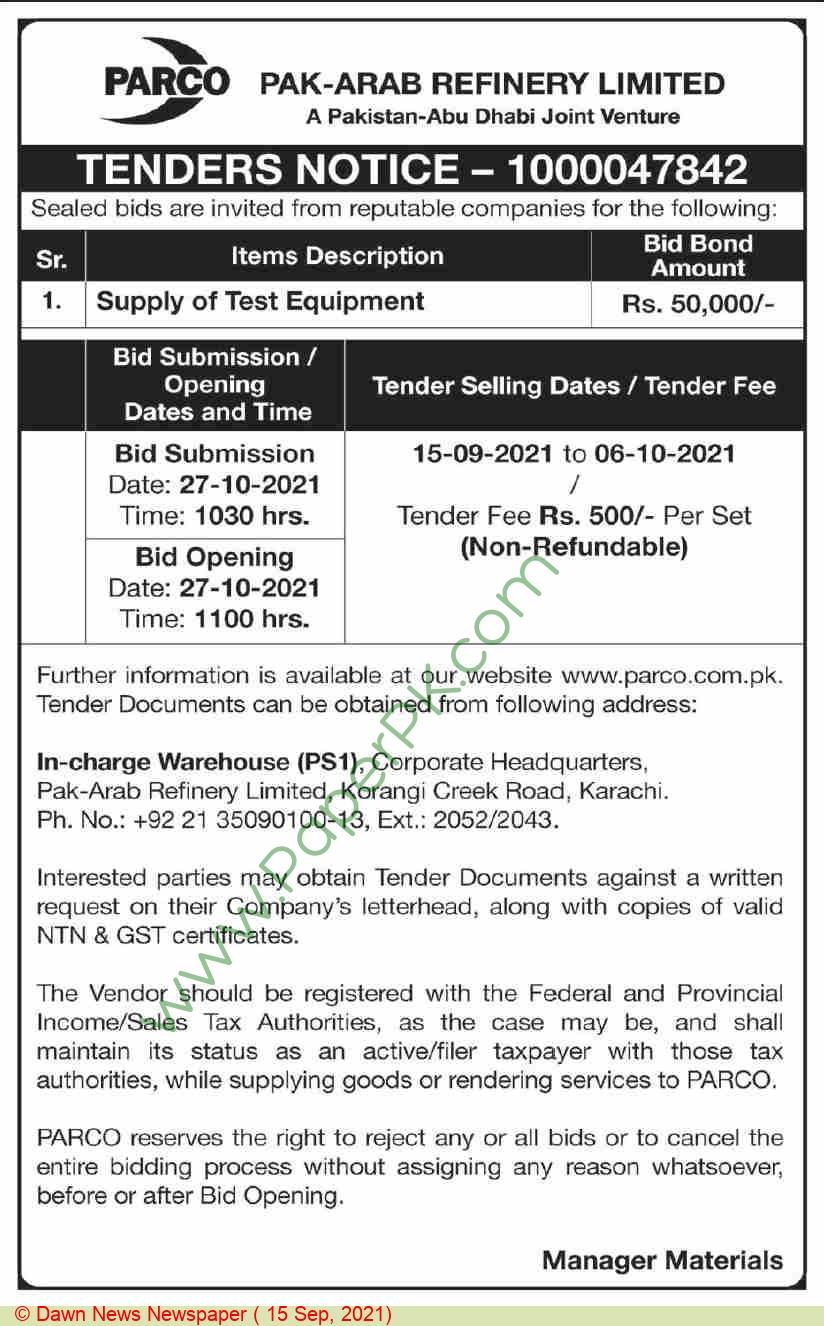 Pak Arab Refinery Limited Karachi Tender Notice