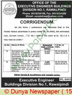 Buildings Division Rawalpindi Tender Notice