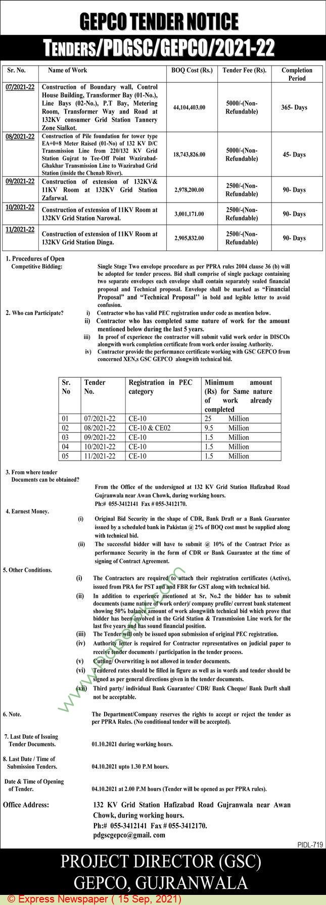 Gepco Gujranwala Tender Notice